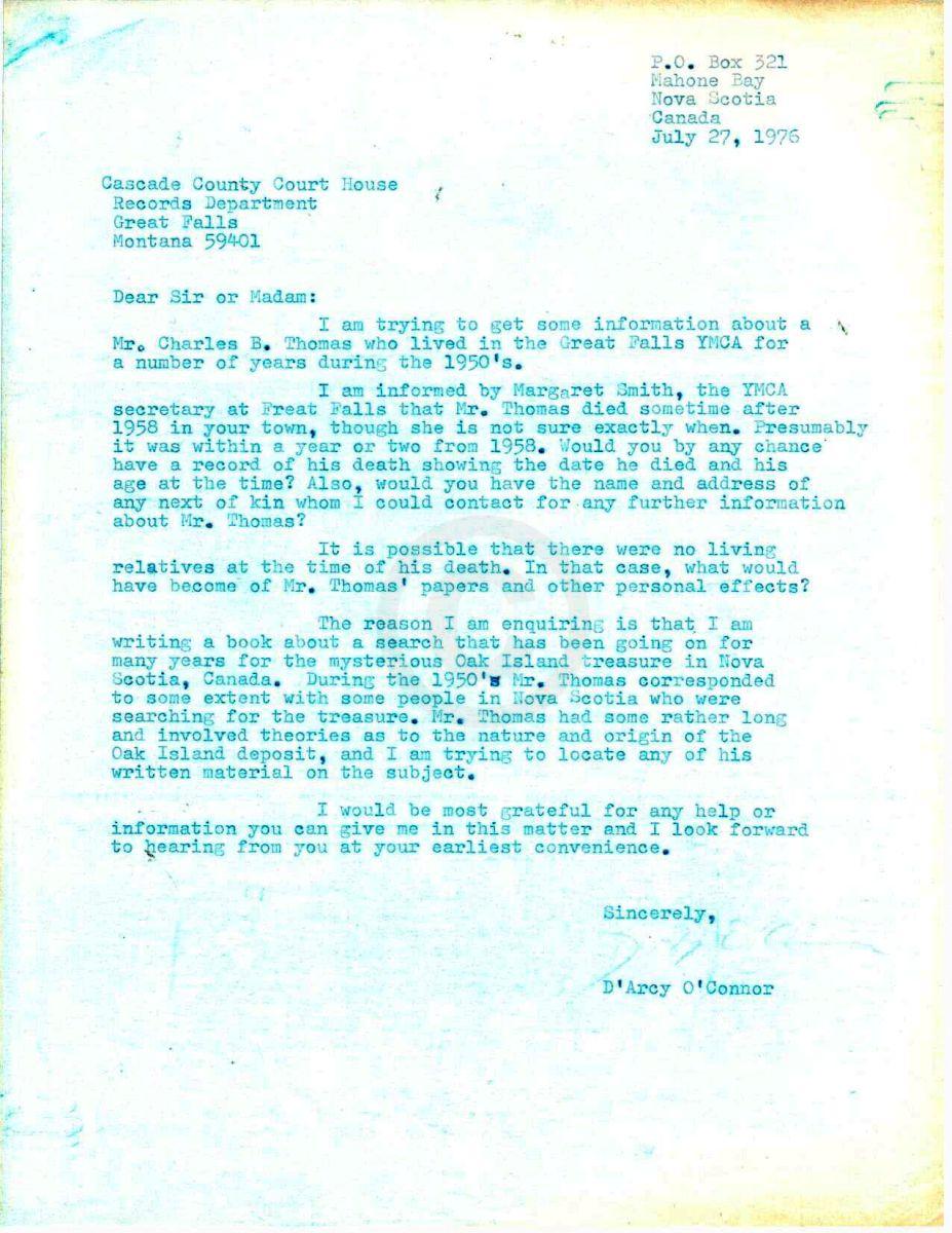 Oak Island, Nova Scotia - Letter O'Connor to Cascade County