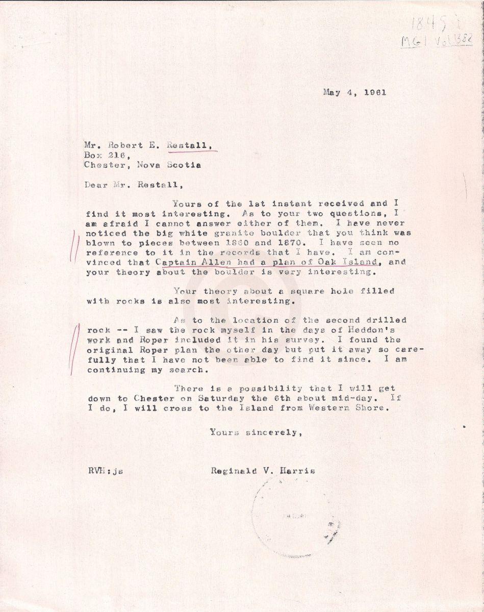 Oak island nova scotia letter to restall finding his theories letter to restall finding his theories interesting solutioingenieria Images