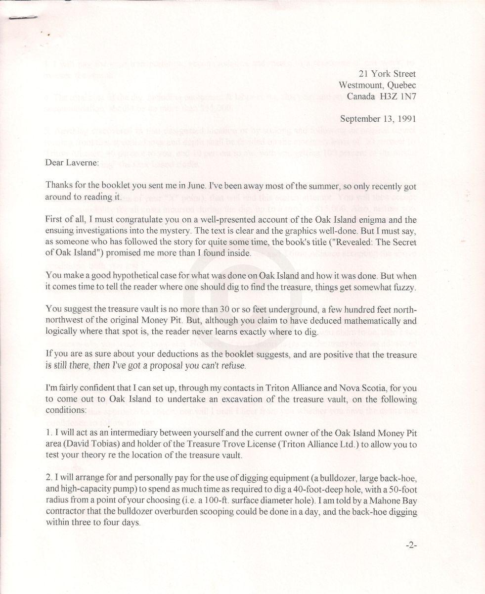 Oak island nova scotia wl johnson letter with the bare bones outline of an agreement p1 solutioingenieria Images