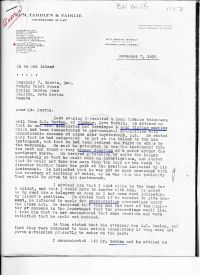 letter regarding the gold finding machine (Page 1)