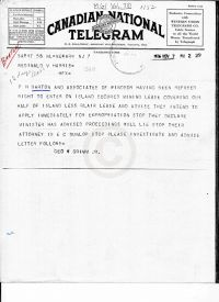 Telegram regarding the refusal to enter the island