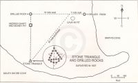 Stone triangle and drilled rocks - surveyed in 1937