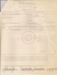 Commercial invoice for the return of material to O'Connor