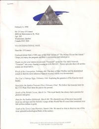"Letter to O'Connor about enclosed VHS and descriptions of the ""Treasure"" episodes, first page"