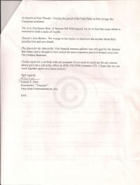 "Letter to O'Connor about enclosed VHS and descriptions of the ""Treasure"" episodes, second page"