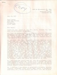 Letter from O'Connor to Kaplan posing ideas on the type of documentary, first page