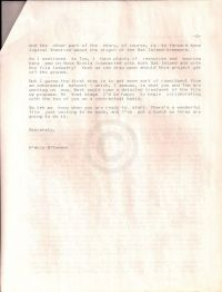 Letter from O'Connor to Kaplan posing ideas on the type of documentary, third page