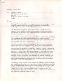 Letter from Kaplan to O'Connor suggesting how to make the documentary, first page