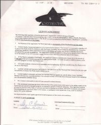 License agreement signed by O'Connor December 4th 1997