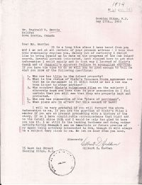 Letter with questions for R.V. Harris