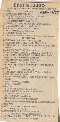 Chronicle Herald: Best Sellers March 18 1978