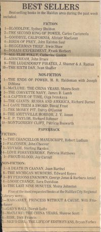 Chronicle Herald: Best Sellers March 25 1978
