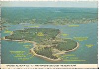 Postcard of Oak Island with labels - front side
