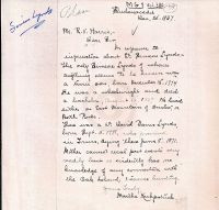 Letter with information on Simeon Lynds