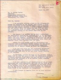 Letter about artifacts analyzed by the Smithsonian Institute