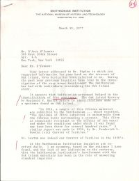 Letter discussing Smithsonian Institute's identification of five specimins p1