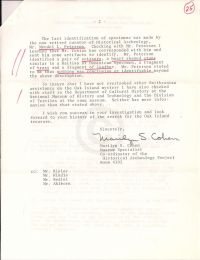 Letter discussing Smithsonian Institute's identification of five specimins p2