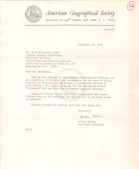 Letter requesting any information on Oak Island at the American Geographical Society