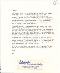 Small letter telling O'Connor how to approach the National Geographic Society