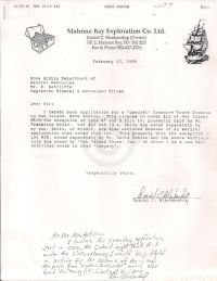 "Letter with application for ""Special"" Treasure Trove License"