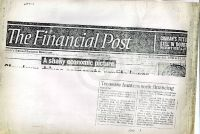 Financial Post: Treasure hunters seek financing (attached to Feb 5 1990 letter)