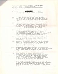 Notes re conversations with Bill Parkin from May 30 to June 6 chonologically p1 (attached to June 11 1990 mem.)