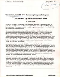 Progress Enterprise: Oak Island Up for Liquidation Sale