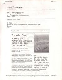 "Email containing Halifax Herald article ""Partners give up treasure hunt"" by Beverley Ware p1"