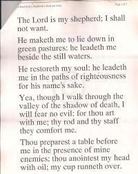 Psalm 23: The Lord is my shepherdŬ part 1