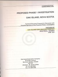 Confidential: Proposed Phase 1 Investigation, Oak Island, Nova Scotia (cover scanned)