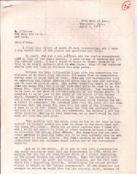 Letter discussing distance from shaft to Money Pit p1